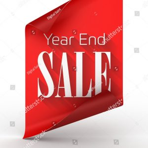 Stock Photo D Illustration Of Year End Sale Text Rendered Over A Red Paper Curled From Top And Bottom 1579540906